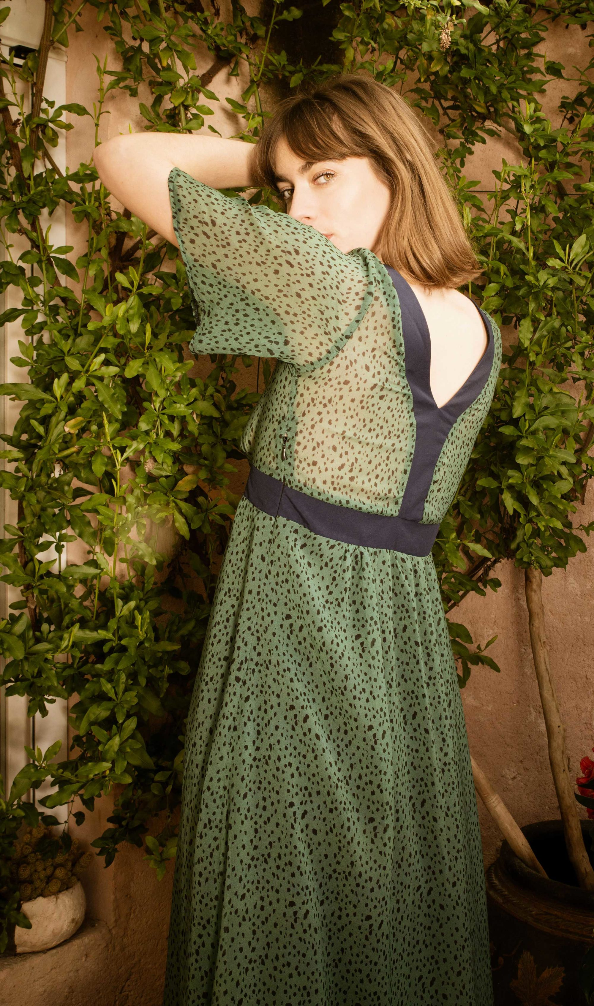 Robe longue marine doublée verte et bleue
