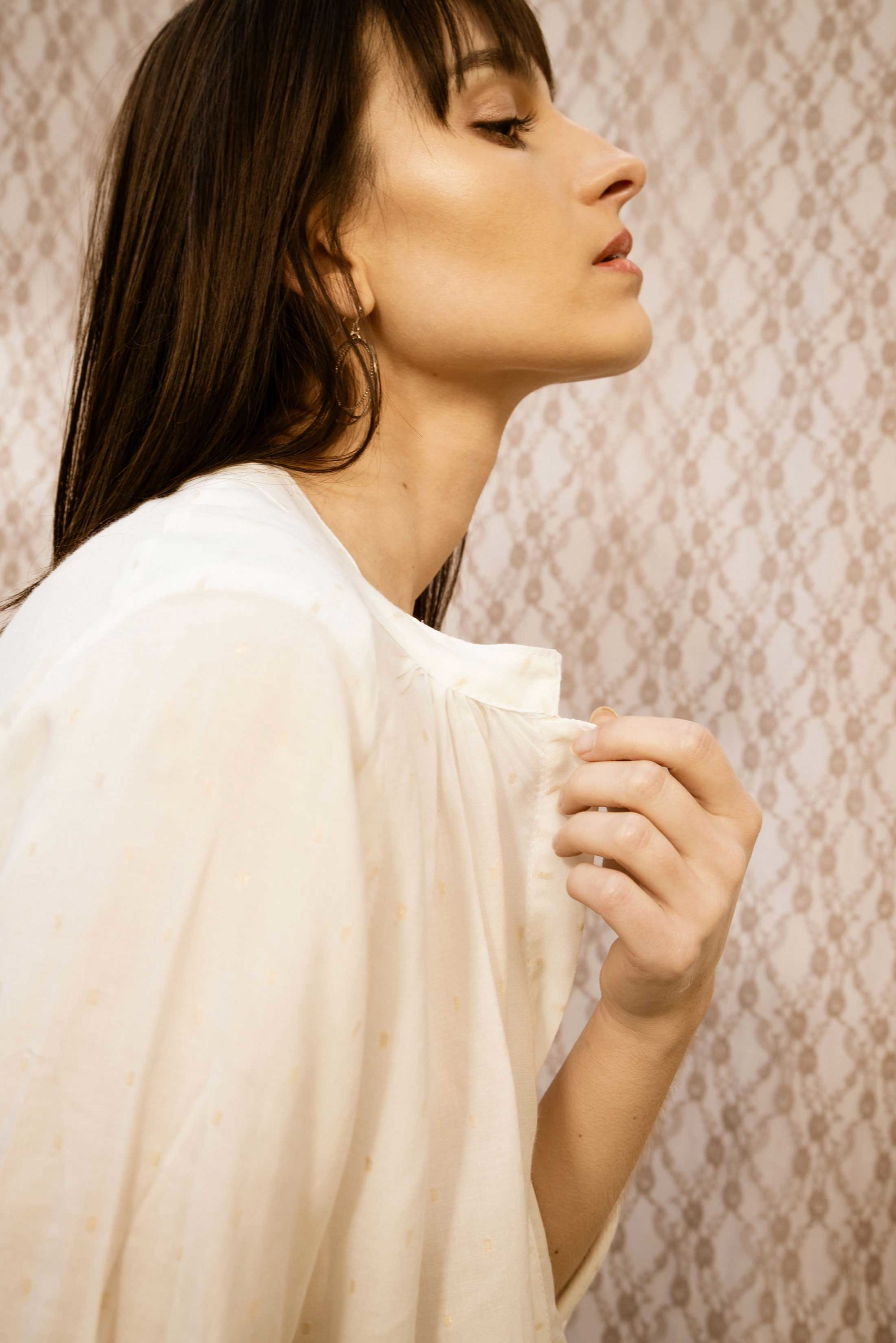 blouse légère manches longues en coton blanc