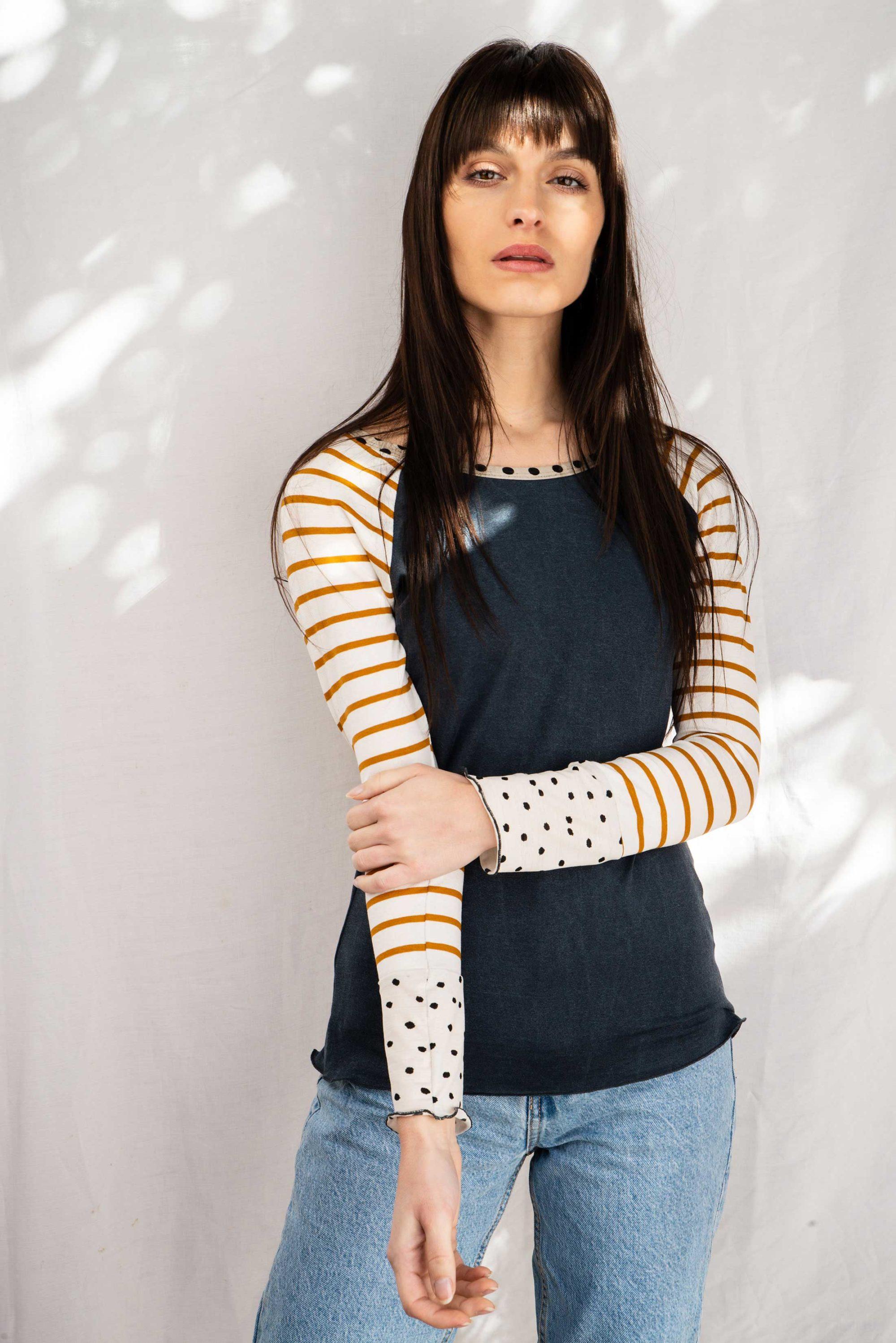 tee shirt raglan femme en jersey bleu et rayures