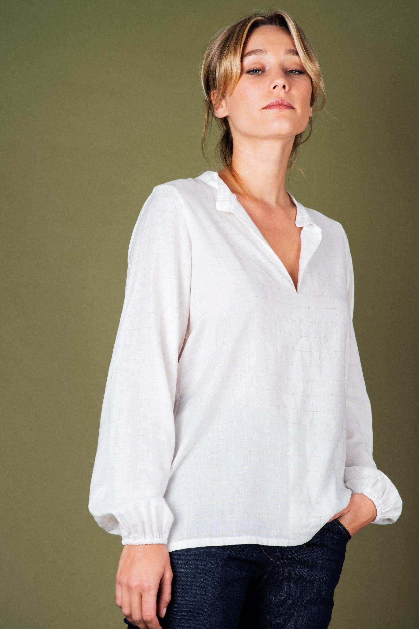 Chemise Sylvie blanche fils dorés