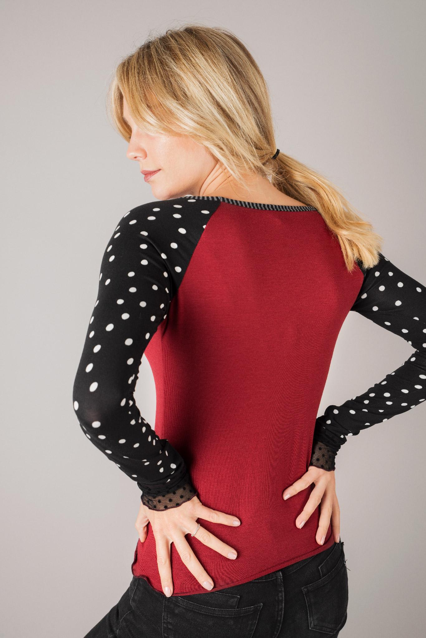 tee shirt raglan rouge manches longues