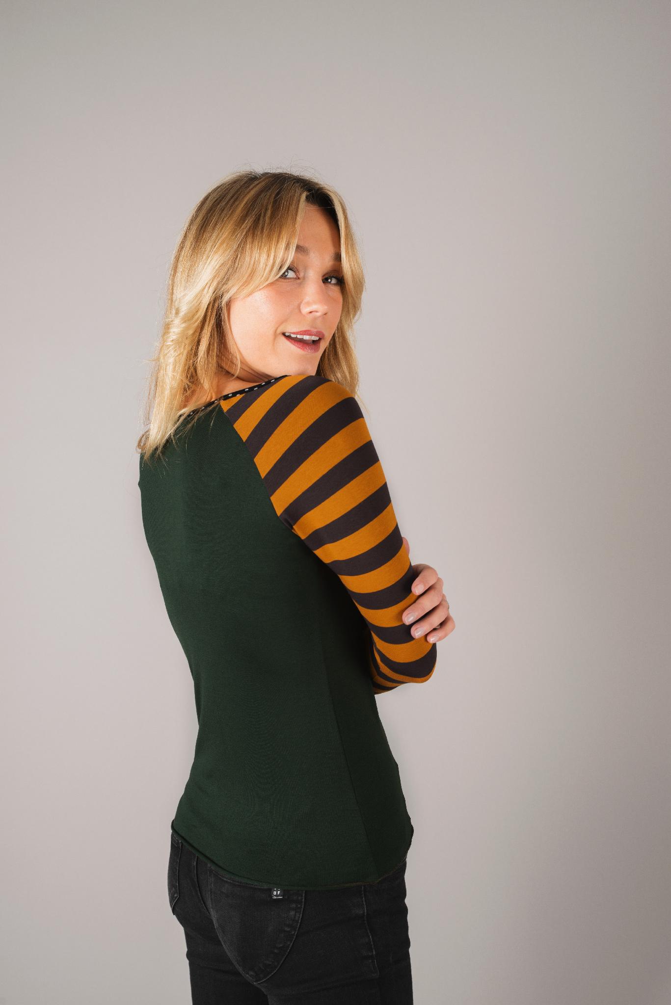 tee shirt raglan vert-et-jaune